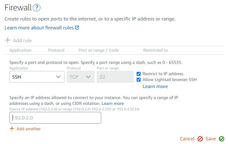 Amazon Lightsail WordPress config firewall settings.